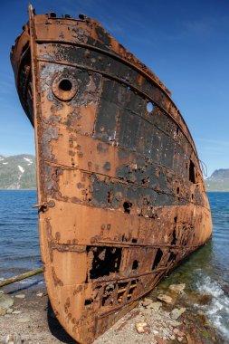 Old rusty trawler boat