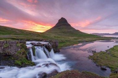 Amazing top of Kirkjufellsfoss waterfall