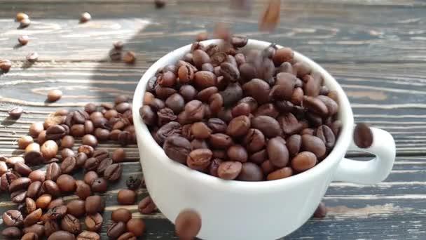 coffee cup falling grain slow motion