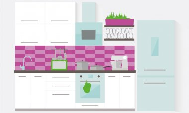 White kitchen interior with furniture. Flat vector illustration.