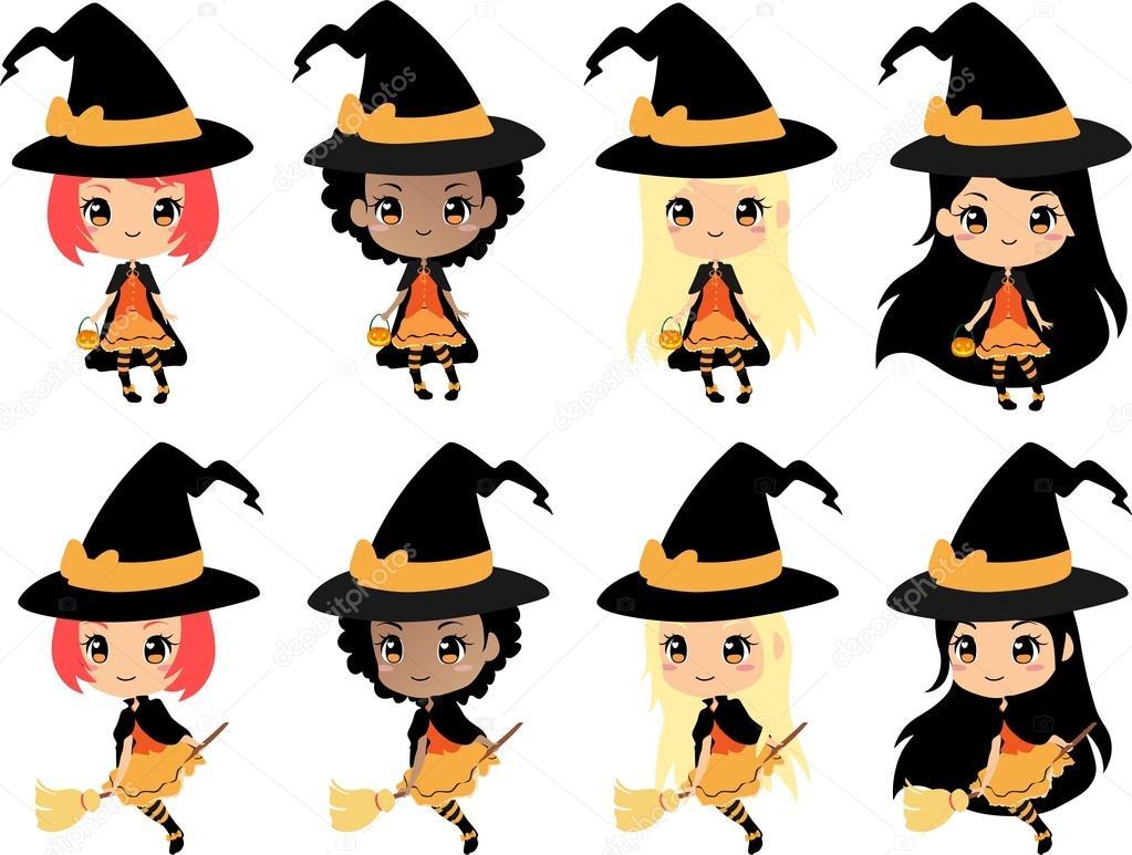 Chibi Hexe Halloween Vektor-Cliparts, niedliche Mädchen mit ...