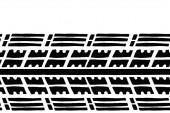 Nahtloses Muster mit Radreifen. Laufflächenspuren von Autoreifen und schmutzige Reifen. Vektor-isoliertes Banner mit Leerraum für Text