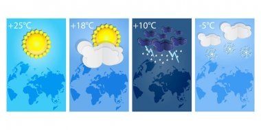 Vertical posters set different types of weather forecast. Thunderstorm, rain, sunny day, night and winter snow. Winter and summer symbols. Collection of various seasons, daily temperature and world map. Paper cut style. Stock vector illustration