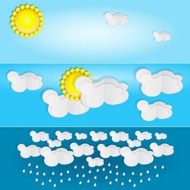 Different types of weather. Day and summer banner. Horizontal posters set with paper clouds for weather forecast. Synoptic symbols for miscellaneous weather conditions. Season icons. Stock vector illustration