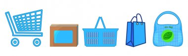 Shopping bag, cart, trolley and basket set isolated on white background. Mall empty shopping bags icons. Supermarket sign collection. Shop container for products. Online store. Goods home delivery and online sale app sign. Stock vector illustration icon