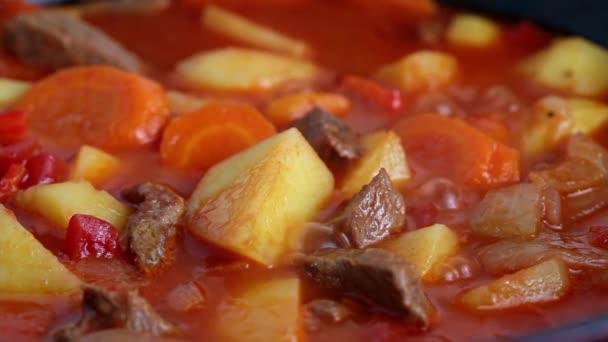 Hovězí guláš s bramborami a mrkví v červeném hrnci, vaří a bublá, zblízka.