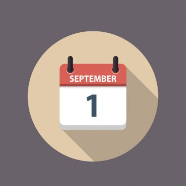 September 1st.Calendar icon.Holidays in September.Vector illustration,flat style.Date,day of month:Sunday,Monday,Tuesday,Wednesday,Thursday,Friday,Saturday.Weekend,red letter day. Calendar for 2021 icon