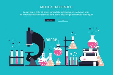 Laboratory equipment banner. Concept for science, medicine and knowledge. Research concept. Flat vector illustration icon
