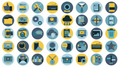 Business, management, finances and technology icon set for website and mobile applications. Flat vector illustration icon