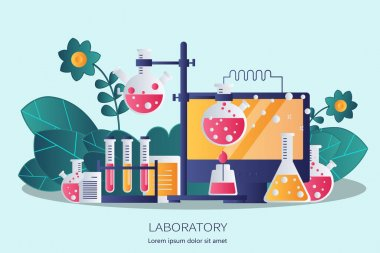 Laboratory equipment banner. Concept for science, medicine and knowledge. Flat vector illustration icon