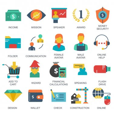 Business and marketing, programming, data management, internet connection, social network, computing, information. Flat vector illustration icon
