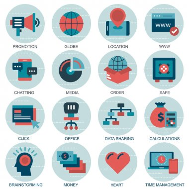 Set vector icons with elements for mobile concepts and web apps. Business and marketing, programming, data management, internet connection, social network, computing, information. Vector icon