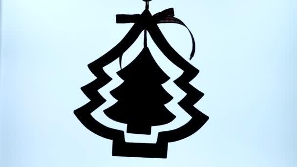 Weihnachtsbaum-Ikone Silhouette auf weißem Hintergrund. Weihnachtszeichen, Symbol.