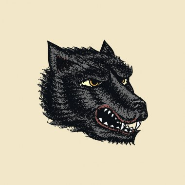 Screaming mad wolf for tattoo or label. Roaring beast. Animal in retro style. Engraved hand drawn line art Vintage old monochrome sketch. Vector illustration. Vector illustration. icon