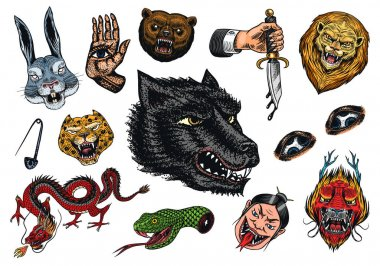 Set of Fashion patches. Tattoo artwork. Bear Dragon Lion Snake Dagger Hare and astrological hand. Drawn Engraved in old vintage sketch. Vector surreal illustration, badges, print for t-shirt icon
