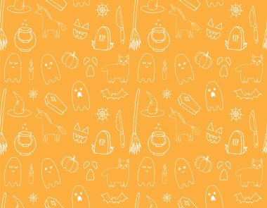 Vector seamless pattern of white hand drawn doodle sketch Halloween elements isolated on orange background icon