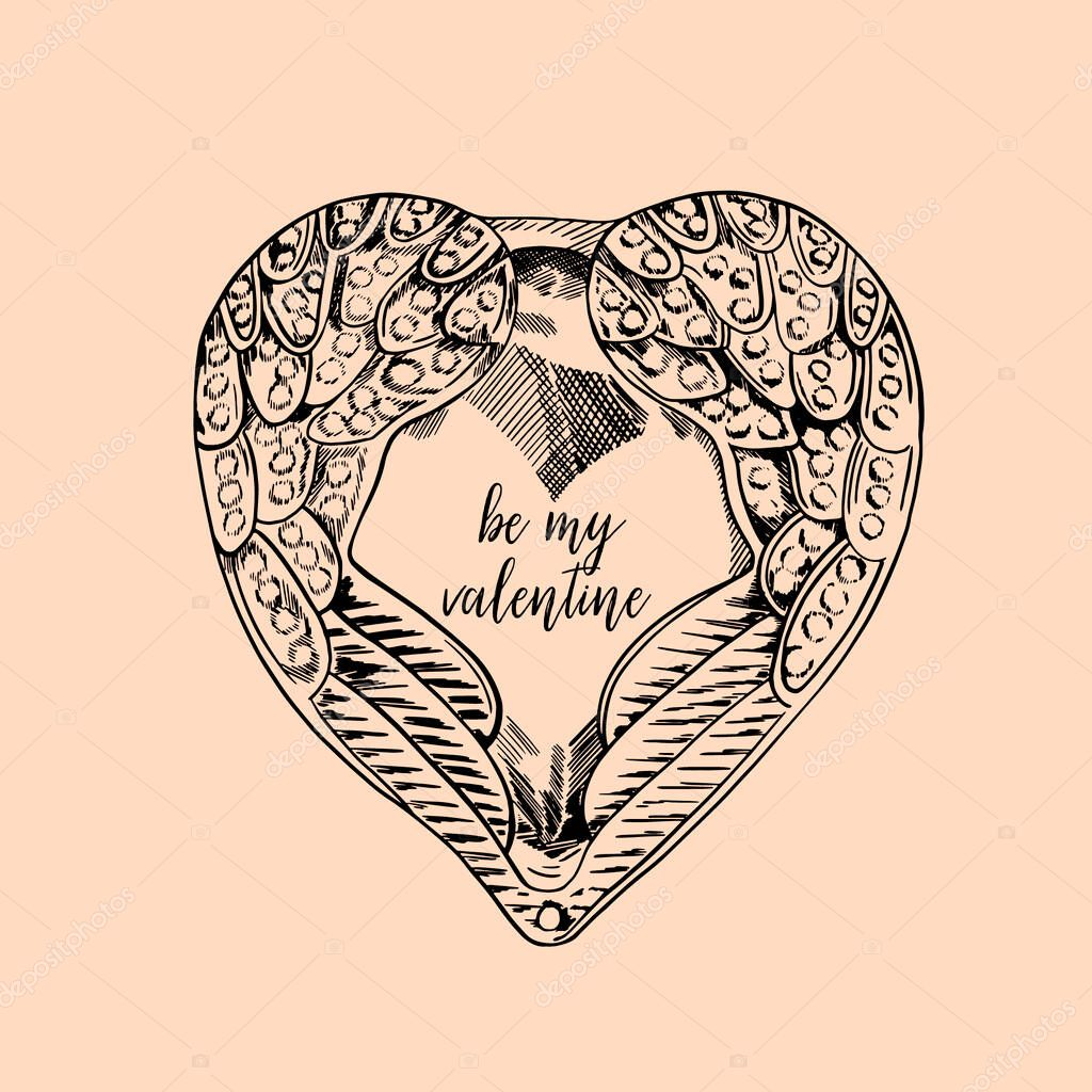 Hand drawn doodle ornate heart with wings illustration icon