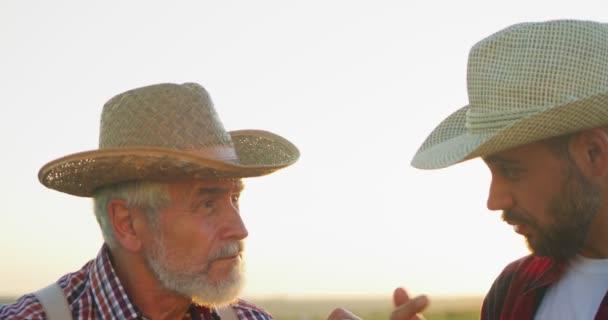 Porträtansicht der beiden Bauingenieure mit Hut, die Pflanzen untersuchen und Wassersysteme auf dem Feld kontrollieren, während sie stehen und diskutieren. Ökologisches Betriebskonzept