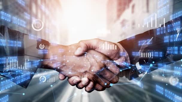 Imaginativní vizuální business handshake s počítačovou grafikou investičních dat