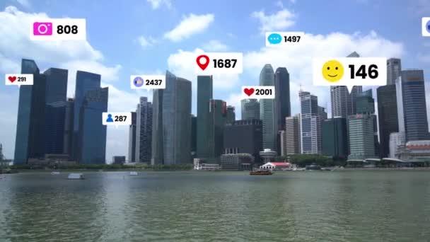 Social-Media-Ikonen fliegen über die Innenstadt und zeigen Menschen, die sich engagieren