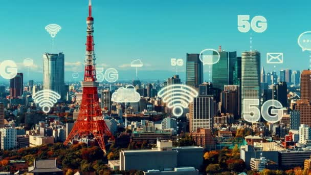 Intelligente digitale Stadt und Globalisierung abstrakte Grafik, die das Verbindungsnetz zeigt