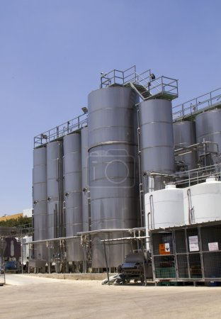 Outdoors Modern winery with stanless steel equipment