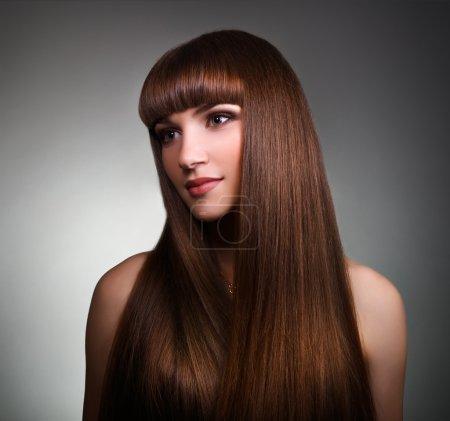 Beautiful girl with long straight hair