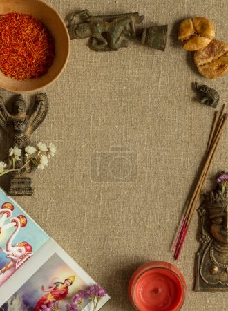 Eastern spice and incense with a copy space