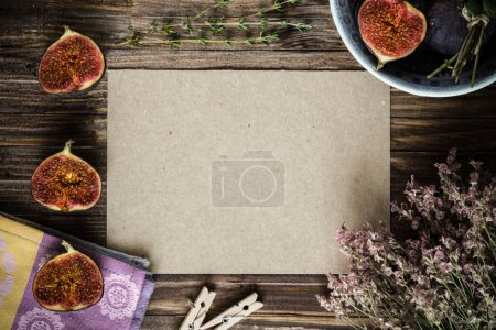 Chopped figs with copy space on kraft paper