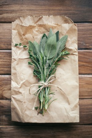 Sage leaves and herbs