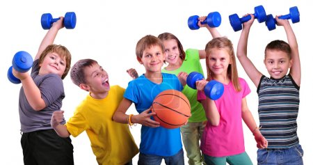 Team of sportive kids friends with dumbbells and ball