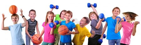 Photo pour Large group of sportive children with dumbbells and ball isolated over white . Childhood, happiness, active sports lifestyle concept - image libre de droit