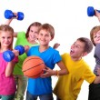 Large group of sportive children with dumbbells an...