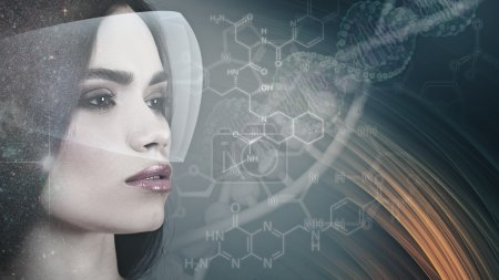 female portrait over science background