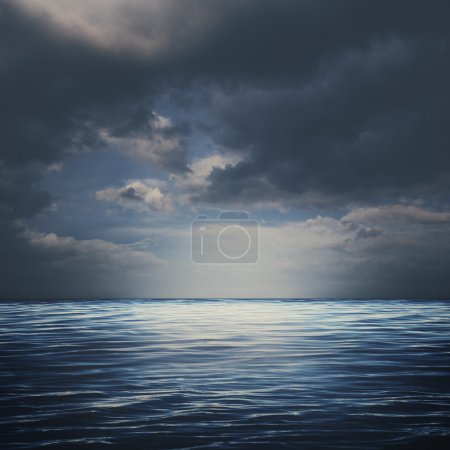 Sea surface under stormy skies