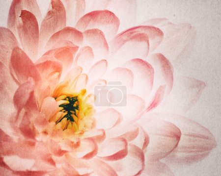 Photo for Dahlia flower as background with added old cardboard texture - Royalty Free Image