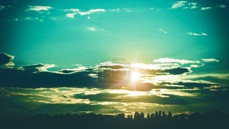 Landscape with summer sunset
