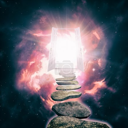 Open door to another reality, abstract ethereal ba...