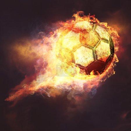 Fire ball. sport soccer background