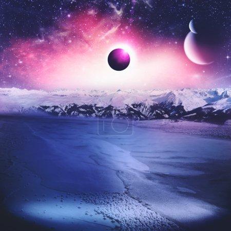 Photo pour Loin. L'univers. Contexte scientifique abstrait. Imagerie NASA utilisée - image libre de droit