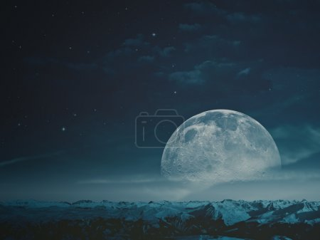 Photo for Foggy night with Moon over snowy mountains. NASA imagery used - Royalty Free Image