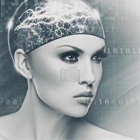 Cyborg woman face