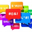 Color speech bubbles or balloons with censored swe...