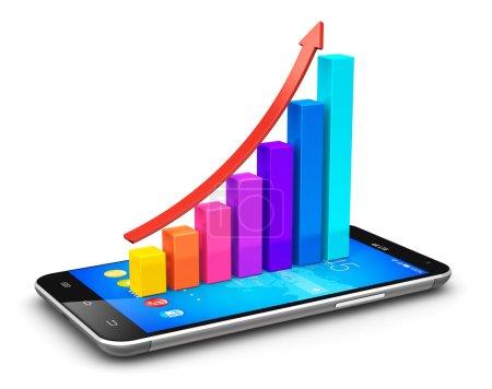 Smartphone und wachsende Balkendiagramm mit Pfeil