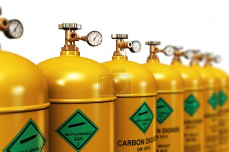 Row of liquefied carbon dioxide industrial gas containers
