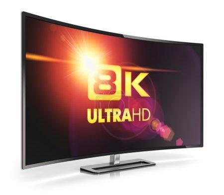 Photo pour Concept créatif abstrait de technologie d'écran de télévision numérique ultra haute définition : Illustration 3D d'un écran de cinéma ou d'un écran d'ordinateur 8K UltraHD incurvé isolé sur fond blanc avec effet de réflexion - image libre de droit