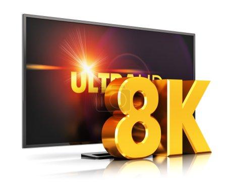 Photo pour Concept créatif abstrait de technologie d'écran de télévision numérique ultra haute définition : Illustration en 3D du cinéma de télévision à résolution UltraHD 8K ou de l'écran d'ordinateur isolé sur fond blanc avec effet de réflexion - image libre de droit
