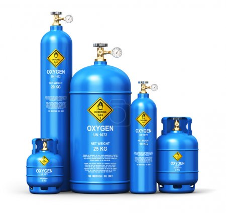 Set of different liquefied oxygen industrial gas containers