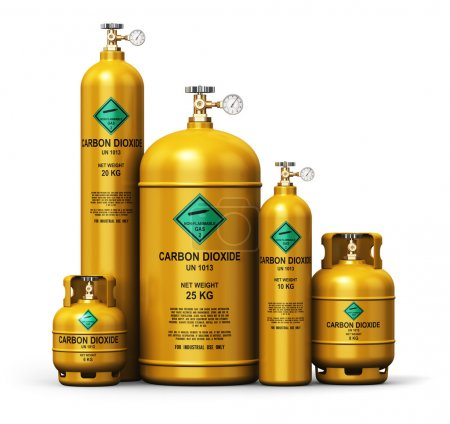 Set of different liquefied carbon dioxide industrial gas contain