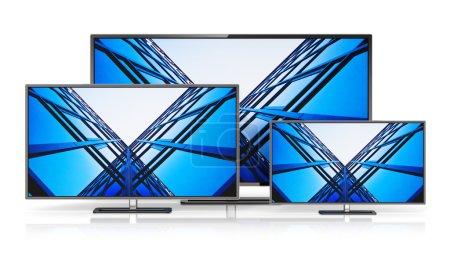 Photo pour Concept d'entreprise de télévision abstraite créative Electronique technologie : ensemble d'écrans d'affichage tv grand écran moderne ou ordinateur pc surveille isolé sur fond blanc avec effet de reflet - image libre de droit